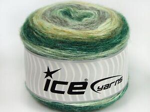 Lot of 3 x 100gr Skeins Ice Yarns CAKES ALPACA (25% Alpaca 25% Wool) Yarn Gre...