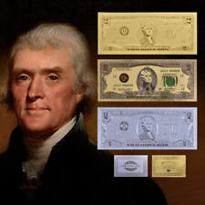 24K Gold Foil Paper Money 2 Dollar  Banknotes Souvenir Collection Gifts Currency