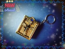 Gold Coloured Bible Key Ring,Mini,Religious,Miniature,Jesus,Handy,Key-chain,Blue