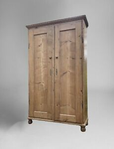 Large French Style Antique Pine Cupboard Armoire Larder Linen Hall Cabinet