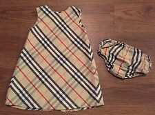 AUTH BURBERRY GIRLS 18 MONTHS 86 CM CHECK SLEEVELESS DRESS RUFFLE BLOOMERS SET