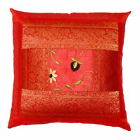 5 PC Indian Red Silk Sofa Cushion Cover Mandala Throw Decorative Pillow Cover