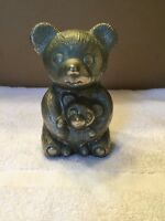 Vintage Silver Tone Metal Bear And Cub Coin Bank