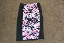 NWT Attention Floral and Black Form Fitting Skirt Women's Size XS 26 inch waist