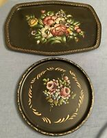 Toleware Vintage 2 Hand Painted Floral Tray ROUND & RECTANGLE Signed Gold Pinks+