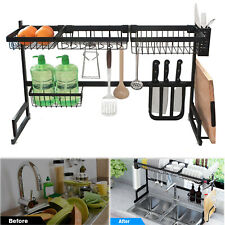 Over The Sink Dish Drying Rack Stainless Steel Kitchen Cutlery Holder Shelf 85CM