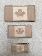 "Canadian Flag Patch 3x1.5"" Desert Tan . Hooks Backing. Medium."