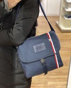 NEW! Tommy Hilfiger Navy Unisex Bag Signature Line Flap Messenger Bag With Tag