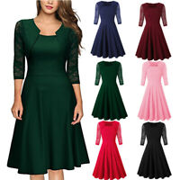 Women Retro Short Sleeve Floral Lace Solid Elegant Square Neck Party Swing Dress