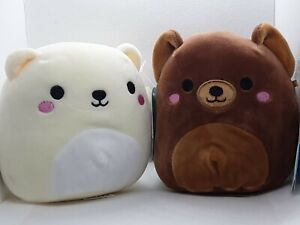 """SQUISHMALLOW ~ Omar and Brooke BEAR PAIR Plush 5"""" ~ NEW with tags"""