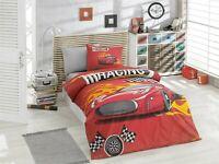 100% Organic Cotton 590TC Quilt / Doona / Duvet Cover Set Racing Car Red Single