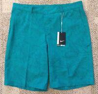 Nike Golf Mens Standard Fit Printed Shorts Green Size 34 Dri-Fit 803047-352