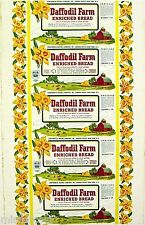 Vintage bread wrapper DAFFODIL FARM ENRICHED barn picture New York new old stock