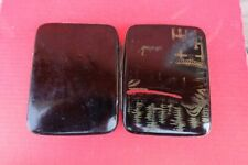 Vintage WWII Japanese lacquer Tin Metal maki-e cigarette case box made in Japan