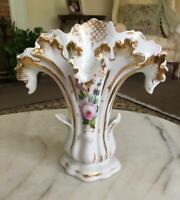 Beautiful Antique Old Paris Vase Pink Roses Gold Trim Poecelain