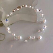 DESIGNER CRYSTAL AND PEARL BRIDAL BRACELET 3 STRAND ILLUSION BRIDESMAIDS JEWELRY