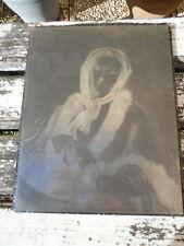 Ancienne plaque à imprimé gravure estampe décor femme époque XIX