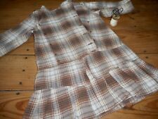 Antique 19thc Child Girls Dress ~ Brown Plaid Cotton ~Country Primitive Clothing