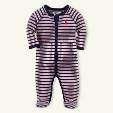 New Baby Boys Ralph Lauren Soft Cotton Long Sleeves Romper 9M
