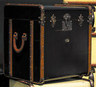 """Stateroom End Table Black 21"""" Steamer Travel Trunk Antiqued French Finish New"""