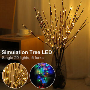 20 LED Branch Twig Lights Light Up Tree Branches Home Party Decor Battery Power