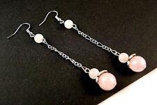1 Long Dangle Pair of Platinum Plated Rose Quartz Gemstone Earrings #B56
