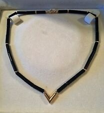 WOMEN'S 14K SOLID YELLOW GOLD & BLACK ONYX NECKLACE