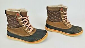 Crocs Allcast Waterproof Duck Boot Womens Sz 7 Brown Tan Quilted