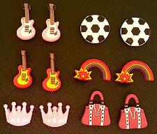 2 x Guitar Football Handbag Rainbow Princess Croc Shoe Charms Crocs Jibbitz