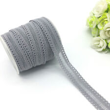 """5yards 5/8""""16mm Bilateral Lace Grid Fold Over Elastic Spandex Lace Band Gray"""
