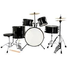 5 Piece Complete Junior Drum Set Cymbals Child Kids Kit w/ Stool & Sticks Black