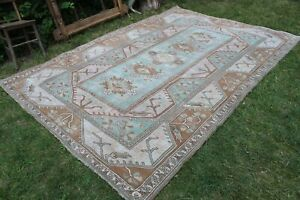"Vintage Turkish Handwoven Oushak Area Rug Carpet  115""x80"""