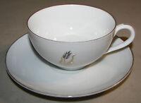 """Fukagawa 2"""" Cup & 5 3/4"""" Saucer Set Gold Wheat Pattern #225"""