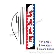 SALE (Stars and Stripes) 15' Feather Banner Swooper Flag Kit with pole+spike
