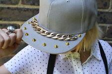 GREY GOLD CHAIN SPIKE  FLAT CAP INDIE GRUNGE PUNK HIPSTER PASTEL GOTH
