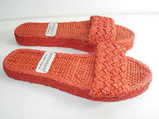 WOMENS New ORANGE woven straw SLIDES SANDALS COMFORT HEELS SHOES SIZE 7 7.5 M