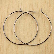 50 PCs Black Alloy Metal Ring Hooks Earring H0272