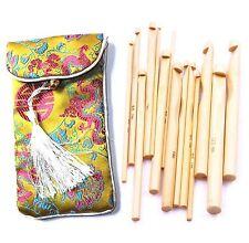 High Quality 12 Bamboo Crochet Hooks Knitting Needles Size 3-10mm With Bag Craft