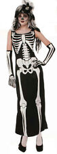 Womens Zombie Skeleton Bone Full Length Dress Halloween Costume