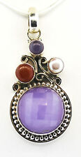 Artisan Crafted Purple Jade (Rnd), Red Jade, Freshwater Pearl Pendant w/o chain