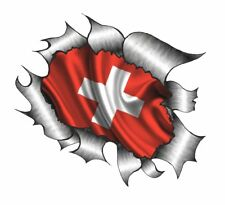 CLASSIC Ripped Open Torn Metal Switzerland Swiss Country Flag vinyl car sticker