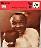 """Henry Armstrong 1977 Pro Boxing Sportscaster 6.25"""" Card 15-14 Perpetual Motion"""