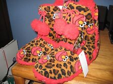 WOMENS SLIPPERS SIZE MEDIUM 7 8 ELMO FROM SESAME STREET BOOTIES LEOPARD SPOTTED