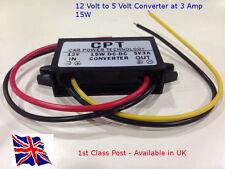 Convertitore CC/CC REGOLATORE - 12 V a 5 V - 3 A 15 W-LED-PER AUTO CAMION CAMPER-nel Regno Unito