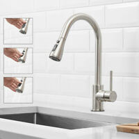 Commercial Kitchen Sink Faucet Brushed Nickel Single Handle Pull Out Mixer Tap