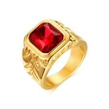 Sz 8/9/10/11/12 Stainless Steel Band Men's Red Rhinestone 18k Gold Wedding Ring