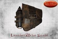 La Rosa HD Softail/Rigid Frame Leather Swingarm Bag-Rustic Brown w/Can Holder