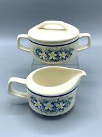 Lenox Temper-Ware Dewdrops Creamer and Lidded Sugar Bowl *  VGC