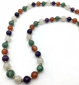 "Vintage Multi Semi Precious Gemstone Necklace 28"""