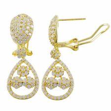 Teardrop Womens Dangle Earrings Gold Plated Sterling Silver Floral